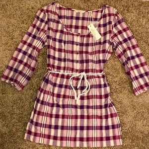 ***NWT*** Fit and Flare Rope Tie Plaid Shirt